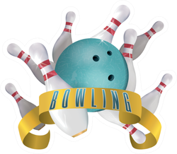 Bowling Club Poster With Turquoise Sticker