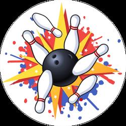 Bowling Hit Illustration Sticker