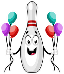 Bowling Pin With Balloons Sticker