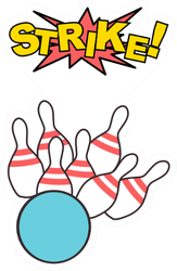 Bowling Strike Icon Sticker