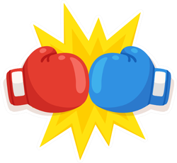 Boxing Gloves Fight Icon, Red Vs Blue Sticker