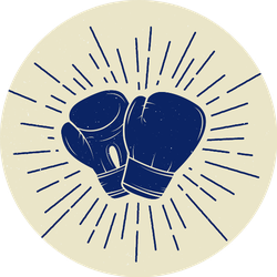 Boxing Gloves In Vintage Style Blue Sticker