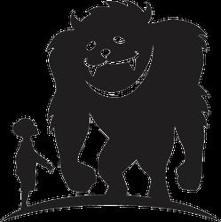 Boy Meeting Bigfoot Silhouette Sticker