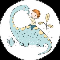 Boy With Dinosaur Sticker