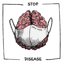 "Brain With Medical Mask Realistic Sketch ""Stop Disease"" Sticker"