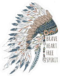 Brave Heart Free Spirit Native American Headdress Sticker
