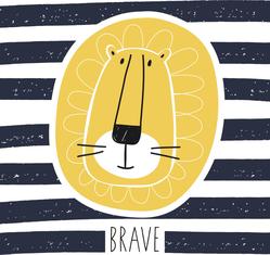 Brave Lion Striped Sticker