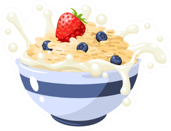 Breakfast Granola Cereal With Berries And Milk Sticker