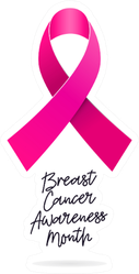 Breast Cancer Awareness Month Pink Ribbon Calligraphy Sticker