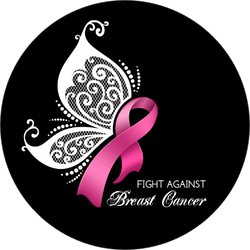 Breast Cancer Awareness Pink Ribbon With Butterfly Wings Sticker