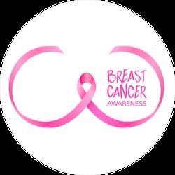 Breast Shape Pink Ribbon Cancer Sticker