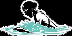 Breast Stroke Female Swimmer Sticker