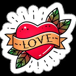 Bright Heart Love Ribbon Tattoo Sticker