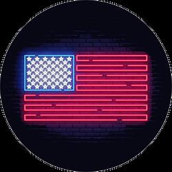 Bright Neon American Flag Sticker
