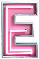 Bright Neon Font  Letter E Sticker