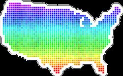 Bright Rainbow Pixel USA Map Sticker