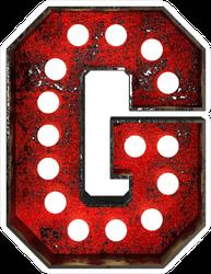 Broadway Style Light Bulb Font Letter G Sticker