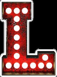 Broadway Style Light Bulb Font Letter L Sticker
