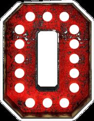 Broadway Style Light Bulb Font Letter O Sticker