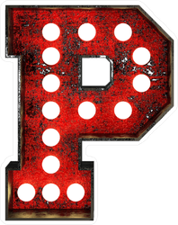 Broadway Style Light Bulb Font Letter P Sticker