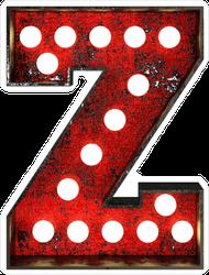 Broadway Style Light Bulb Font Letter Z Sticker
