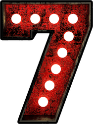 Broadway Style Light Bulb Font Number 7 Sticker