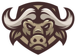 Brown Buffalo Head Mascot Sticker
