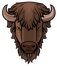 Brown Buffalo Head Sticker