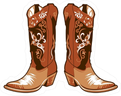 Brown Cowgirl Boots Sticker