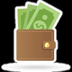 Brown Wallet Paper Money Sticker
