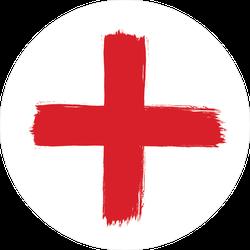 Brush Stroke Red Cross Sticker
