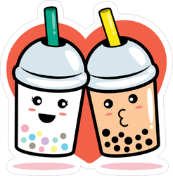Bubble Milk Tea Heart Sticker