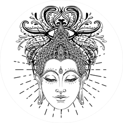 Buddha Face Line Art Sticker