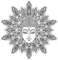Buddha Face Over Ornate Mandala Sticker