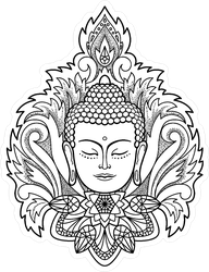 Buddha Head With Floral Decoration Sticker