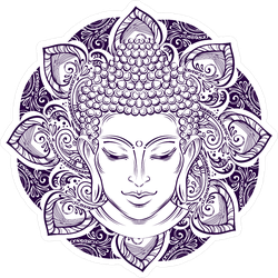 Buddha Head With Paisley Ornament Sticker