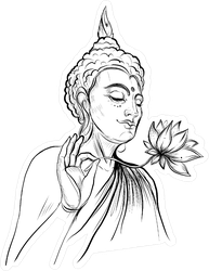 Buddha Holding Lotus Flower Sticker
