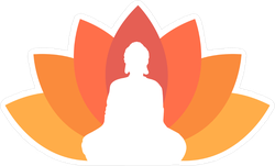 Buddha Illustrated With A Lotus Background Sticker