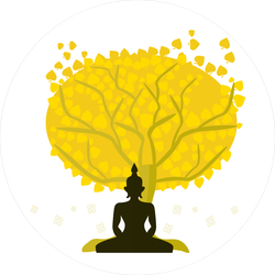 Buddha Meditating Serene Tree Sticker