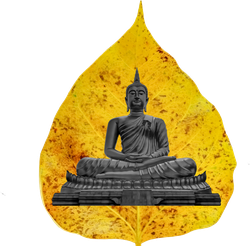 Buddha Statue In Golden Bodhi Leaf Sticker