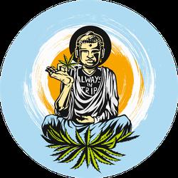 Buddhism Meditation Hands With Marijuana Illustration Sticker