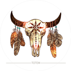 Buffalo Bull Skull With Feathers Sticker