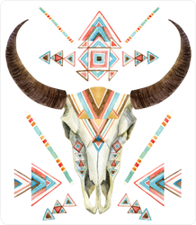 Buffalo Cow Skull In Tribal Style Sticker