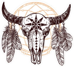 Buffalo Skull With Feathers And Dreamcatcher Sticker