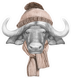 Buffalo With Hat And Scarf Sticker