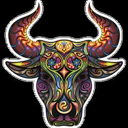 Bull Head Tattoo Style Sticker
