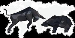 Bull Market Bear Market Illustration Sticker
