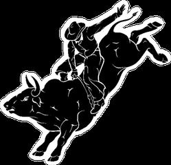 Bull Rider Black Sticker
