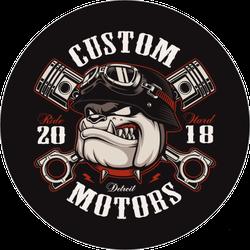 Bulldog Biker With Crossed Pistons Sticker