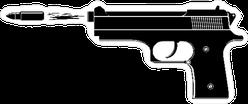 Bullet Flying out of Gun Barrel Sticker